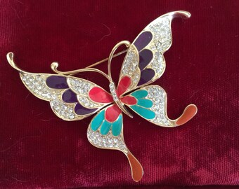 Butterfly Brooch, Vintage, Rhinestone and enamel.  1980s
