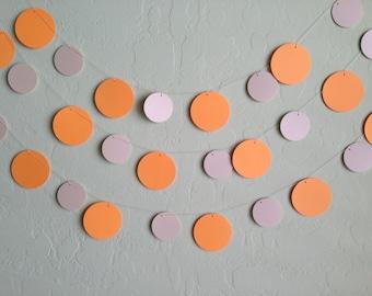 Orange and Pearl Cream Circle Garland/Banner, Spring Garland, Wedding Garland