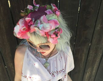 1950s Coralie Hat // Pink Flowers // Tea Garden Party // Fairies Fairy Costume // Festival Accessories // 50s Fascinator // Vintage Hats