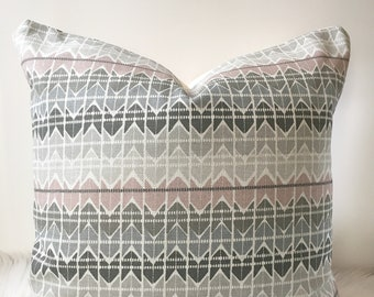 Blush/Grey Arrow Patterned Pillow Cover - fits 20 x 20 insert