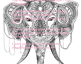 Elephant to colour out Mandala style