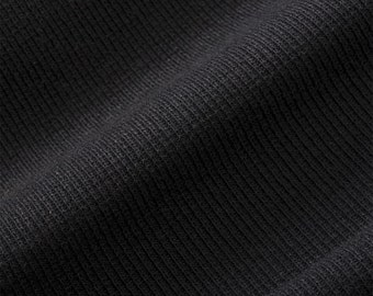 ProECO® Stretch-FIT Heavy Organic Cotton Rib Fabric (Black, sold by the yard)