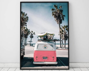 Retro van print,Beach life print,Beach print,Living room decor,Dining room decor,Large wall art,Camper van art,Digital print,Downloadable