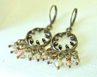 Chandelier Earrings Crystal Earrings Khaki Earrings Purple Earrings Ready to Ship