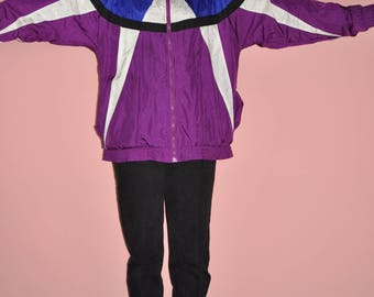 Vintage 90s Color Block Purple Blue Bomber Windbreaker Jacket L