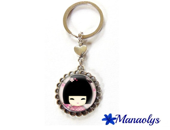 Key ring or jewelry bag pink kokeshi 82 glass cabochon
