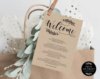 Editable Template - Instant Download Rustic Wedding Weekend Welcome Itinerary