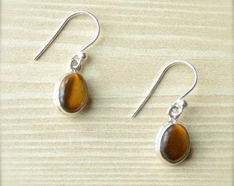 Petite Oval Tiger's Eye Dangle Earrings // Tiger's Eye Jewelry // Sterling Silver // Village Silversmith