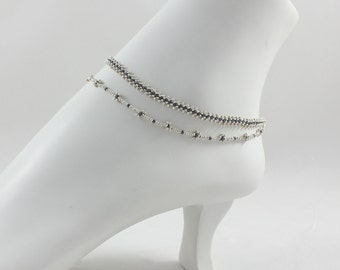 Silver Double Strand Anklet - Chain Ankle Bracelet - Karen Hill Tribe Silver Jewelry - Beadwork Anklet - Hematite Bead Anklet