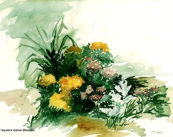 5 x 7 Greeting Card with Envelope - Flowers, Print from Watercolor by E.S. Beal, Bridgton, Maine