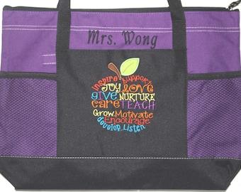 Best Teacher Gift! Embroidered Personalized Teacher Tote Bag; Teacher Appreciation Week