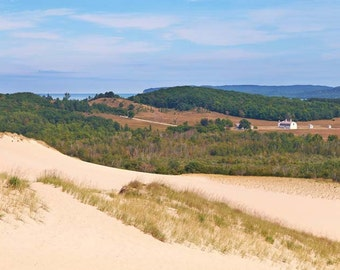 """Country Photo, Sleeping Bear Sand Dunes, Michigan, Landscape Photography, Farm, Nature Print, """"Dune Country"""", Fine Art Photography"""