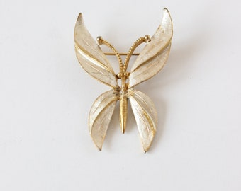 Vintage BSK Silver Washed Goldtone Butterfly Brooch
