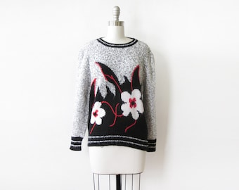 vintage floral sweater, 80s flower print sweater, medium large pullover knit sweater