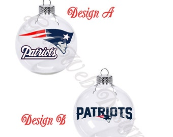 New England Patriots Inspired Floating Glass Ball Christmas Ornament
