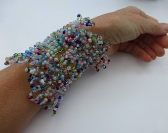 Knitted cuff, pastel seed beads, large knitted bracelet. One of a kind gift. UK seller