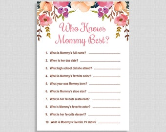 Who Knows Mommy Best Shower Game, Watercolor Floral Shower Activity, Boho Baby Girl, DIY Printable, INSTANT DOWNLOAD