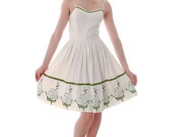 Reserved  Nicky Vicky Vaughn  Fairy Kei VTG Sundress Matching Wrap Embroidered Hem 33-24-Free 1950s S
