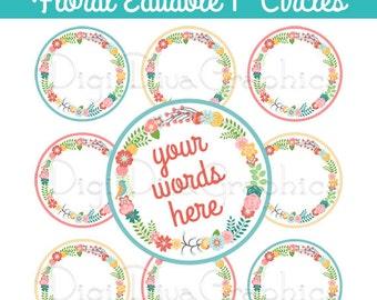 Editable - Floral Wreath Bottle Cap Collage Digital Set 1 Inch Circle 4x6 - Instant Download - BC1131