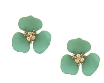 Flower Stud Earrings Gold/Mint