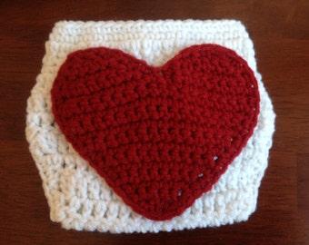 Valentine's Day Crochet Heart Diaper Cover Valentines Diaper Cover