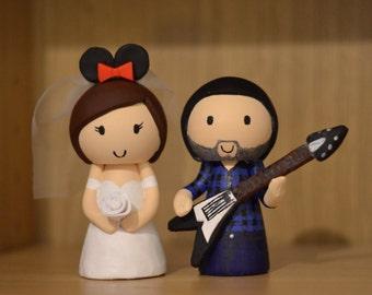 Wedding Cake Topper - Guitar Groom & Mouse Ear Bride