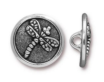 Dragonfly Patterned Button TierraCast Antique Silver 17mm One Button