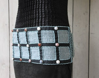 Wide belt (17 cm) beaded. Creating unique and made by hand
