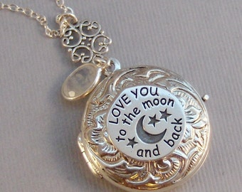 Love You,Sterling Silver Locket,Locket,Silver Locket,Moonstone,Moonstone Locket,Love you to the moon,Moon Locket,Love you to the moon,Moon
