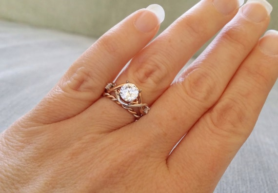 Two Toned Rope White Sapphire Diamond Engagement Ring Vintage