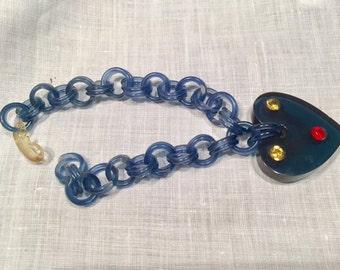 Vintage Lucite Blue Heart Bracelet Valentine