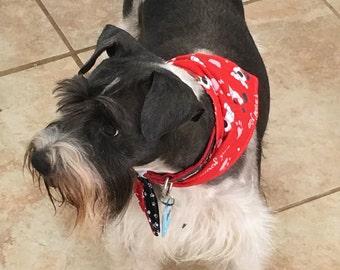 Tie-on Dog Bandana in I Woof You and Paw Prints - XSmall/Small/Medium/Large/XLarge