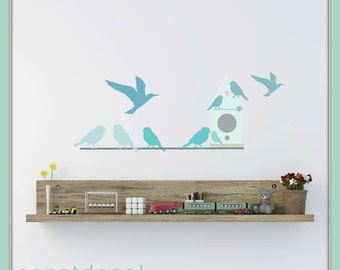 FREE SHIPPING Wall Decal Birds & Bird House And Brunches. Nursery Wall Decal. Wall Paper. Wall Sticker. Wall Art. Kids Wall Decal Diy