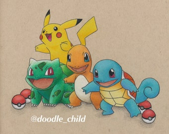 Pokémon Starters Drawing PRINT