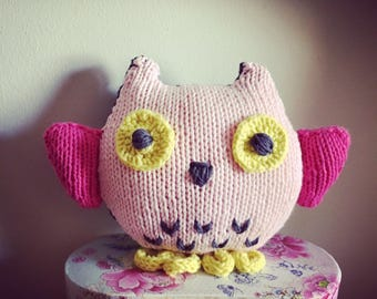 Cuddly OWL knit pink/gray/yellow
