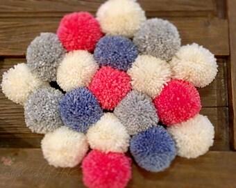 Pom Poms, Garland  - Pom Pom Garland - Blue - Gray - Ivory - Coral  Pom Poms, Baby, Bridal Shower Garland, Farmhouse Style, Pom Pom Garland