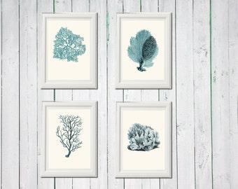 Coral blue 4 art sea vintage printables 8,5 x 11 inch digital file INSTANT DOWNLOAD