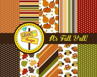 Fall Digital Papers - Backgrounds for Invitations, Card Design, Scrapbooking, and Web Design