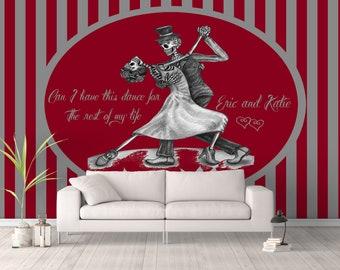 Custom Personalized Wall Mural,  Dancing Sugar Skulls,  Wall Paper, Wall Art, Skulls, Day Of The Dead ,