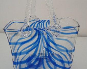 Vintage Hand Blown Glass Purse Blue Twirl Murano Style Glass Handbag Glass Art Purse Lover Handbag Flower Vase
