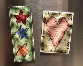 Country Star and Hearts Cross Stitch Magnet Set