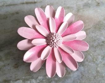 Large Pink Flower Brooch Pink Enamel Brooch Pink Metal Flower Pin Pink Daisy Wedding Brooch Bouquet or Wear Large Pink Sash Broach FB27
