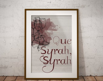 Que Syrah, Syrah Watercolor Wine Themed Wall Art