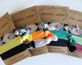 Electric Aztec - No Crease Hair Tie - Party Favors - Soft Hair Tie - Workout Hair Tie