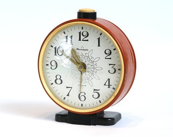 Vintage Alarm Clock Jantar, made by Soviets. USSR made authentic alarm clock, mid century mechanical clock, rustic home decor