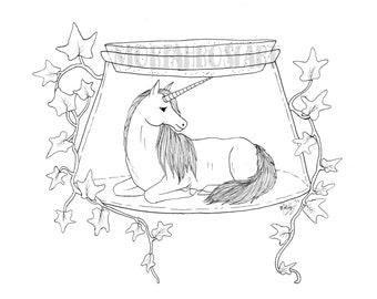 Bottled Unicorn Coloring Page