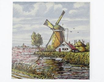 """Vintage Defts Ceramic Tile - Trivet """"Dutch Windmill Scene"""""""