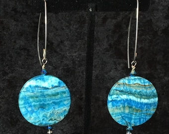 Handcrafted Crazy Blue Lace Agate, Blue Green AB Swarovski Crystals, Handmade Sterling Silver Ear Wires
