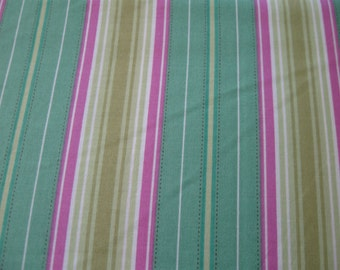 Heather Bailey Freshcut Fabric in turquoise pink and yellow stripes from Freespirit Fabrics 1 yard