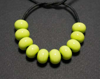 Spacer beads set, Pea green lampwork spacer beads, Lampwork beads, Green glass spacer, Lampwork spacer